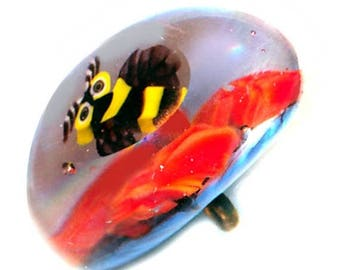OH BOY SALE Button--Modern Studio Lampwork Paperweight Bee and Flowers