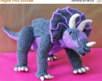 40% OFF SALE Instant Digital File PDF Download knitting pattern -Tracy Triceratops toy dinosaur pdf download knitting pattern