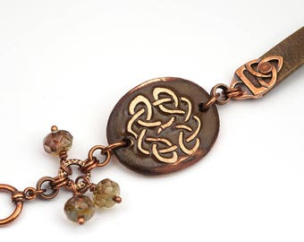 Celtic knot jewelry, brown knotwork design bracelet, ceramic leather earthtones and copper, 7 3/4 inches