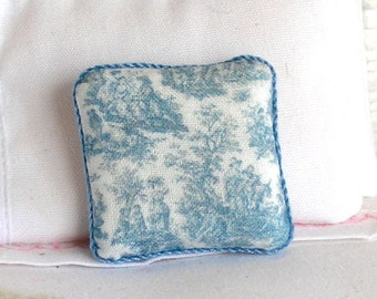 1:12 Pillow - Blue Toile - Handmade Dollhouse Scale Miniature - Shabby Cottage Chic *Free Shipping*