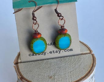 Red and Turquoise Czech Glass Beaded earrings on antique copper, Hammered copper beaded earrings, copper and glass earrings, picasso earring
