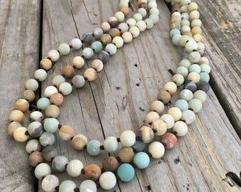 Amazonite Bead Silk Knot Necklace Wild Prairie Silver Jewelry