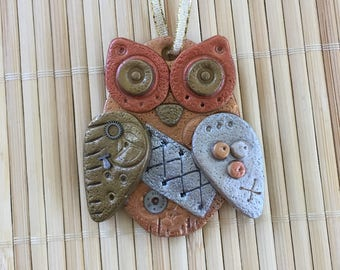 Steampunk Owl Holiday Ornament - Industrial Style Bird Animal Mixed Media Decor style 6