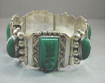 Mexican Sterling Green Glass Tribal Mask Bracelet