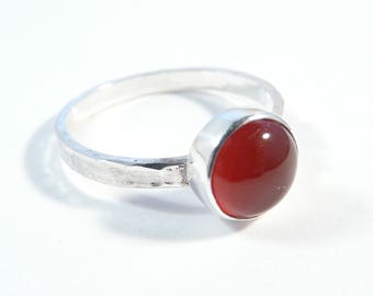 Minimalist sterling silver ring with red agate