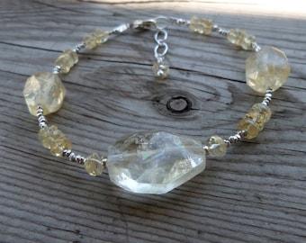 Natural Large Citrine Sterling and Fine Silver Birthstone Gemstone Bracelet
