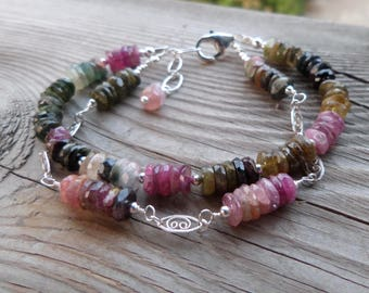 Amazing Rainbow including Gold and Blue Tourmaline with Chain Gemstone and Sterling Silver Bracelet