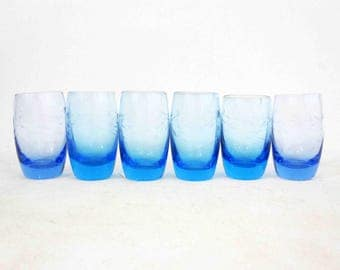 Vintage Blown Glass Etched Cordial Glasses in Blue. Set of 6. Circa 1960's.