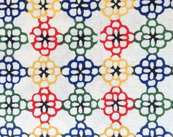 Katazome Washi Japanese Paper Sheet 18x24 inches - red, blue and green geometric