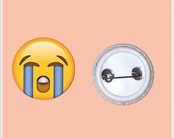 "Crying Emoji 1"" Pin-Back Button"