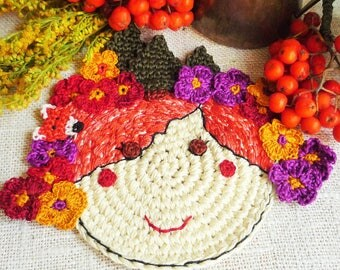 Autumn Fairy Coaster - Crochet Flower Coaster - Fairy with Fox - Autumn Fairy Mug Rug - Gift for Mom - Autumn Table Decor - Gift for Her