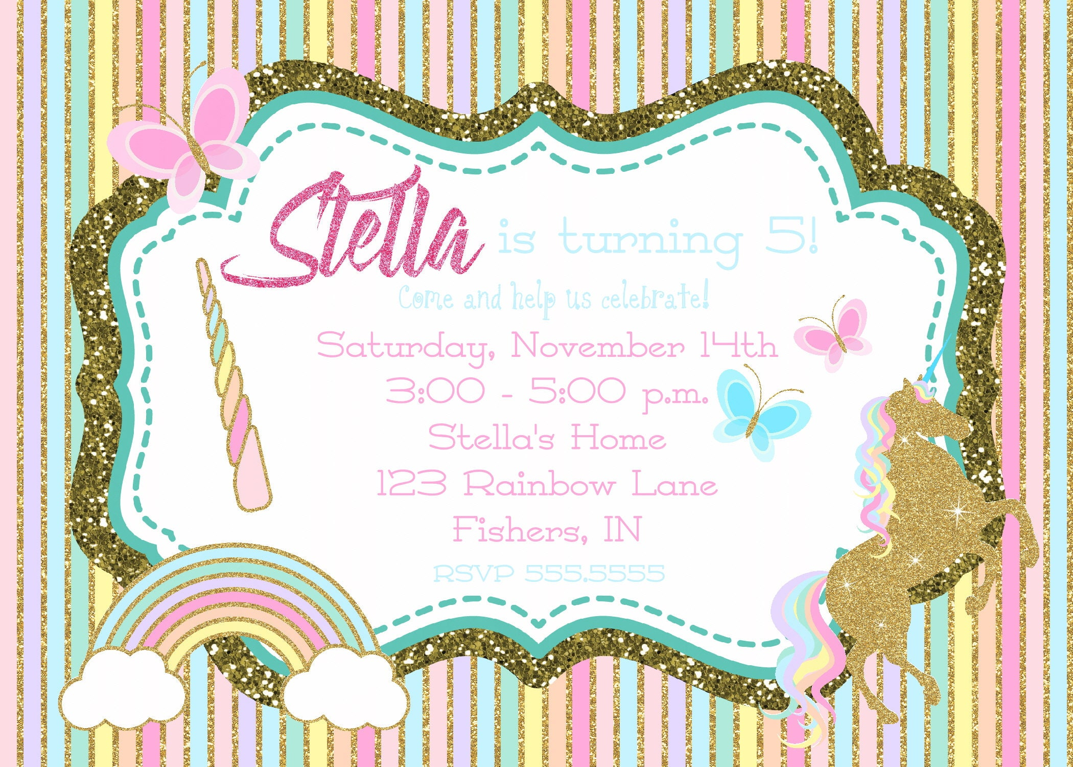 Digital Girl Rainbow Unicorn Glitter Birthday Party Invitation ...