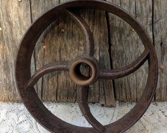 Antique Cart Dolly Table Rail Road Cast Iron Industrial Utility Cart Wheel  Decor