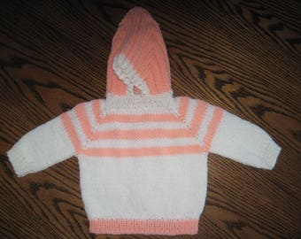 Hand Knit Hooded Baby Infant Sweater Zip Up The Back Hoodie - Size 0 to 6 Months Creamsicle Colors  Free US Shipping