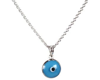 Evil eye necklace - Turquoise eye - 925 sterling silver - protection - Greek jewelry