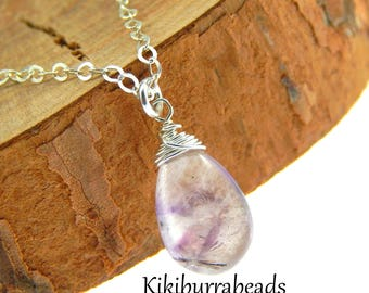 Moss Amethyst Necklace, February Birthstone, Super 7, Wire Wrapped Petite Layering Necklace