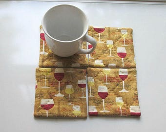 brown wine hand quilted set of mug rugs coasters