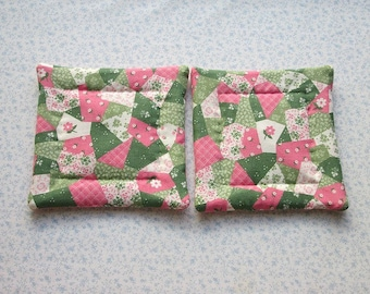 child small hands pink and green country quilting hand quilted set of 2  insulated potholders