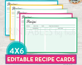 Printable Recipe Card, Editable Recipe Card Printable, DIY Recipe Card, Bridal Shower Recipe Card Template PDF Instant Download