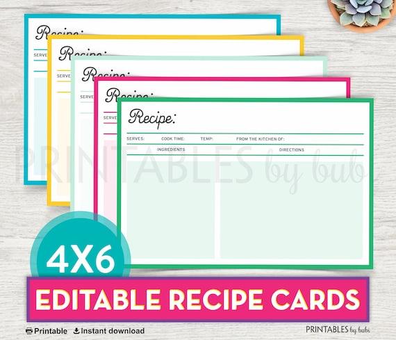 printable recipe card editable recipe card printable diy