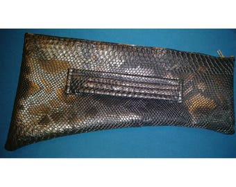 Black Faux Snakeskin Clutch