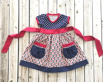 4th of July dress, knit dress, blue polka dot dress, Patriotic dress, Red white and blue outfit, 4th of July outfit, by Melon Monkeys
