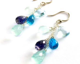 Light Blue Topaz and Violet Gemstone Earrings. Ocean Blue Chalcedony Iolite Topaz Sterling Silver Earrings