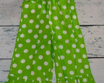 ON SALE 3T Lime Dot Ruffle Pants - Clearance And Ready To Ship