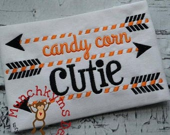 ON SALE SAMPLE Sale Candy Corn Cutie Shirt, Monogrammed Halloween Shirt  - Read Description for Details