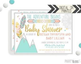 Boho Baby Shower Invitation | Digital or Printed | Boho Baby Shower | Tribal Invitation | The Adventure Begins | Gender Neutral Baby Shower