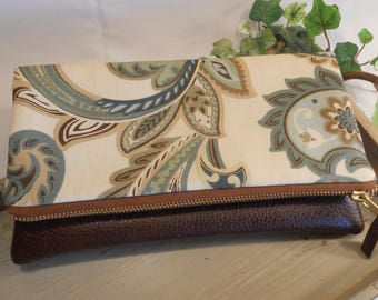 "Foldover Cotton CLUTCH...with Faux ""Leather"" Accent...Perfect for Bridesmaids...will hold iPad Mini or Kindle"