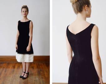 1960s Black Velvet Dress with a Beaded Hem- XS