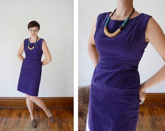 1950s Purple Corduroy Top and Skirt Set - S