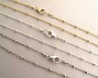"Beaded Satellite Chain Necklace, 14k gold filled / Shiny Sterling Silver / Antiqued Silver 14"" 16"", 18"", 20"", 22"", 24"""
