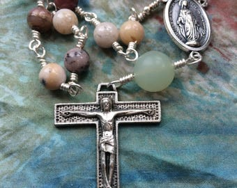 Prayers in Your Pocket - Wire Wrapped Single Decade Rosary in Silver, Peruvian Opal and Serpentine