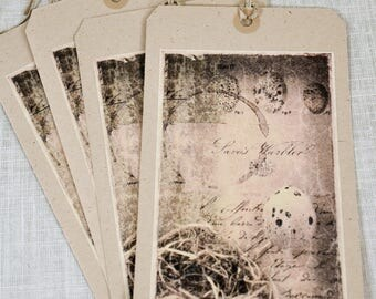 Set of Four Extra Large Tags * bird nest * bird eggs * nature * journaling tags * altered art