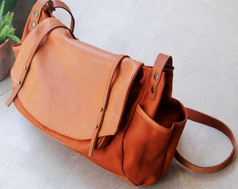 Large satchel bag Tan Leather and Tan cotton canvas