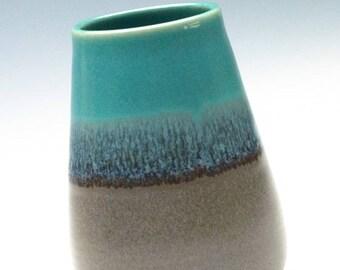 Aqua Green Tan Vase / Ceramic Vessel
