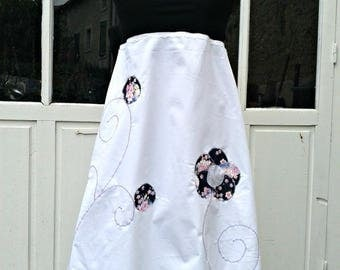 Dress Halter Haziel black and white flower Japanese