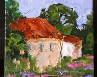 MINIATURE Impressionist Painting 4x4 Plein Air Provence Landscape Art  Country Villa Wildflower Garden Lynne French O/C