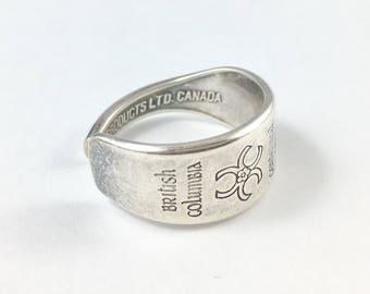 British Columbia Ring, Spoon Ring, Spoon Jewellery, Canadian Jewellery, Canada Spoon Ring, British Columbia Spoon Ring, BC Canada, Vancouver