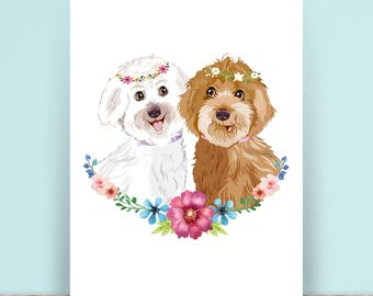 Custom Pet Portrait  - Personalised Pet Drawing - Illustrated Pet Gift  - Rememberence Portrait - Dogs - Cats -  Print - Digital file