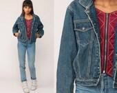 Tommy Hilfiger Jacket Hooded Denim Jacket 90s Jean Jacket Streetwear Hoodie Blue Tommy Jeans Hood 1990s Vintage Hipster Small