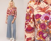 Boho Crop Top Floral Blouse 70s Button Up Shirt Bohemian 1970s Vintage Boho Hippie Psychedelic Magenta Purple Long Sleeve Small Medium