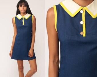 Mod Dress LINEN 60s Mini Twiggy Gogo Peter Pan Collar Sheath Button Up Collared Dark Blue 70s Sleeveless Vintage Small