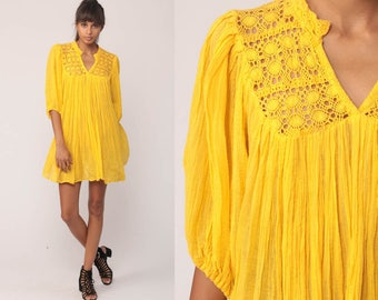 Bohemian Dress 70s CROCHET Micro Mini Cotton Gauze Yellow Trapeze Tent Lace Gypsy Festival Hippie Boho Beach Cover Up Small Medium Large xl