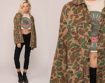 Army Shirt Camo Shirt Military Jacket 60s 70s Camouflage Utility Olive Drab Green Commando Cargo Field Button Up Oversized Extra Large xl