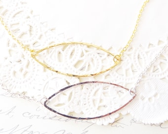 Gold Hammered Open Teardrop Bar Necklace - Silver Hammered Open Oval Bar Necklace - Simple Silver Gold Bar Necklace - Minimalist Jewelry
