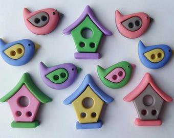 BIRD NEIGHBORHOOD Birdhouse House Garden Summer Dress It Up Sewing Craft Buttons
