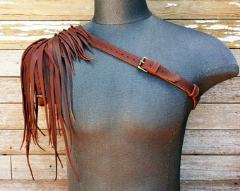 Primitive Feathered Chocolate Brown Leather Unisex Right Shoulder Harness with Antiqued Brass Hardware